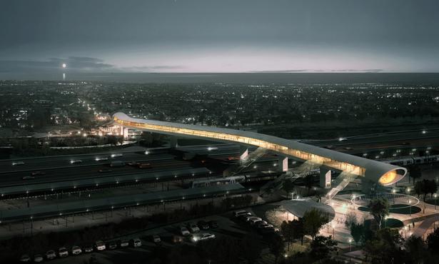 Demir Yolu ve Otoyolun Kesiştiği Bir Yaya Köprüsü: Køge North Station