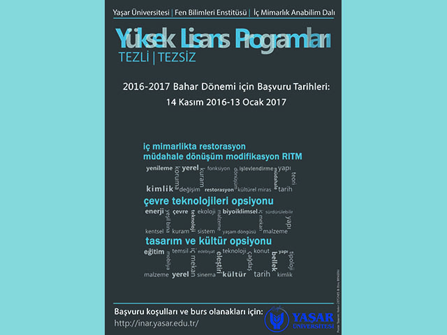 Yaşar Üniversitesi İçmimarlık Yüksek Lisans Başvuruları Başladı
