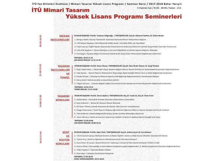 İTÜ Mimarlık Fakültesi, Mimari Tasarım Yüksek Lisans Program Seminerleri