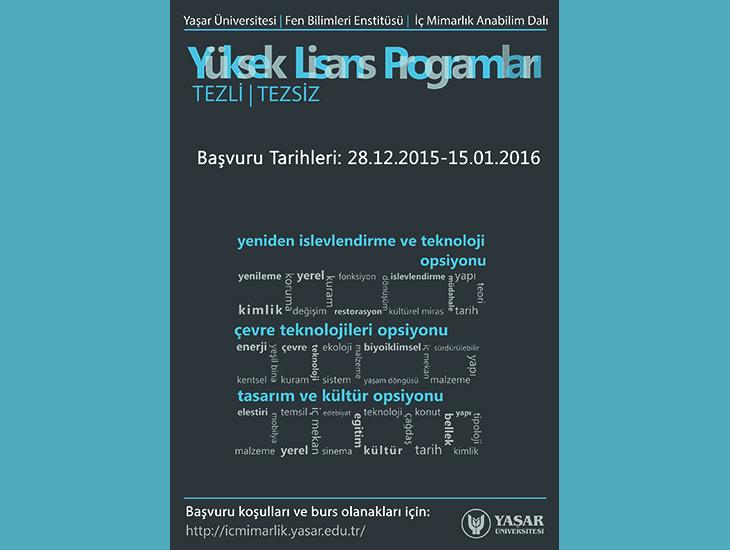 Yaşar Üniversitesi İç Mimarlık Yüksek Lisans Programları