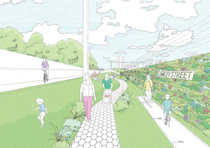 Londra Camden'deki Demir Yolunun Kullanılmayan Kısmı Yeşil Alana Dönüşüyor