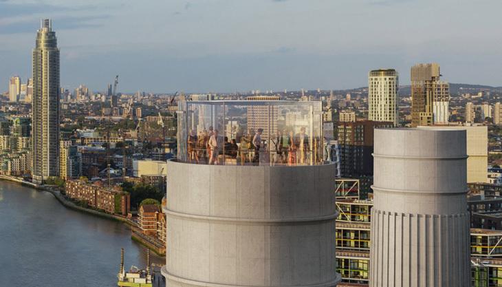 Battersea Elektrik Santrali'nin Bacasına Cam Asansör