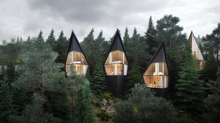 Dolomit Dağları'nda Ağaç Evler