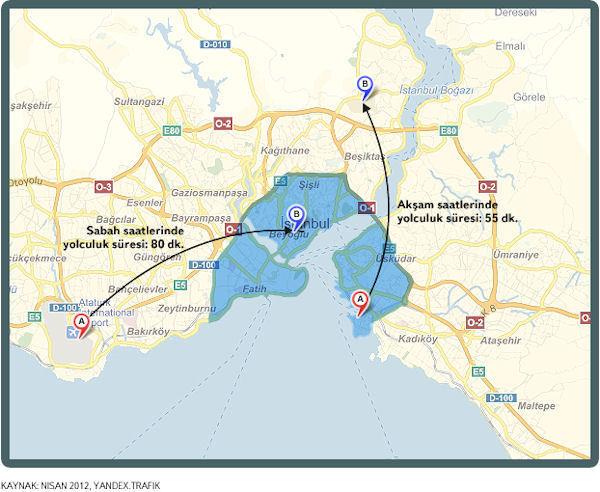 Yandex İstanbul trafiğinin stres haritasını çıkardı