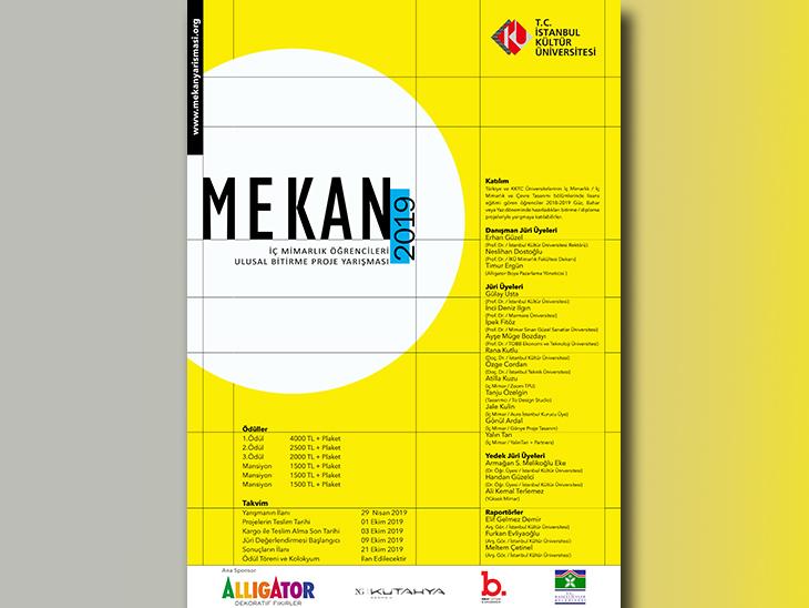 MEKAN 2019 / İç Mimarlık Öğrencileri Ulusal Bitirme Projesi Yarışması
