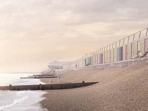 Deniz Duvarında Renkli Plaj Kulubeleri
